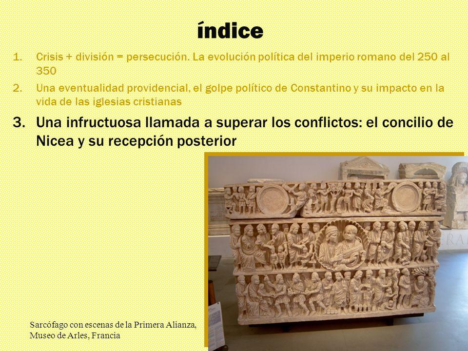 Los mil rostros El triunfante siglo IV índice 1.Crisis + división = persecución. La evolución política del imperio romano del 250 al 350 2.Una eventua