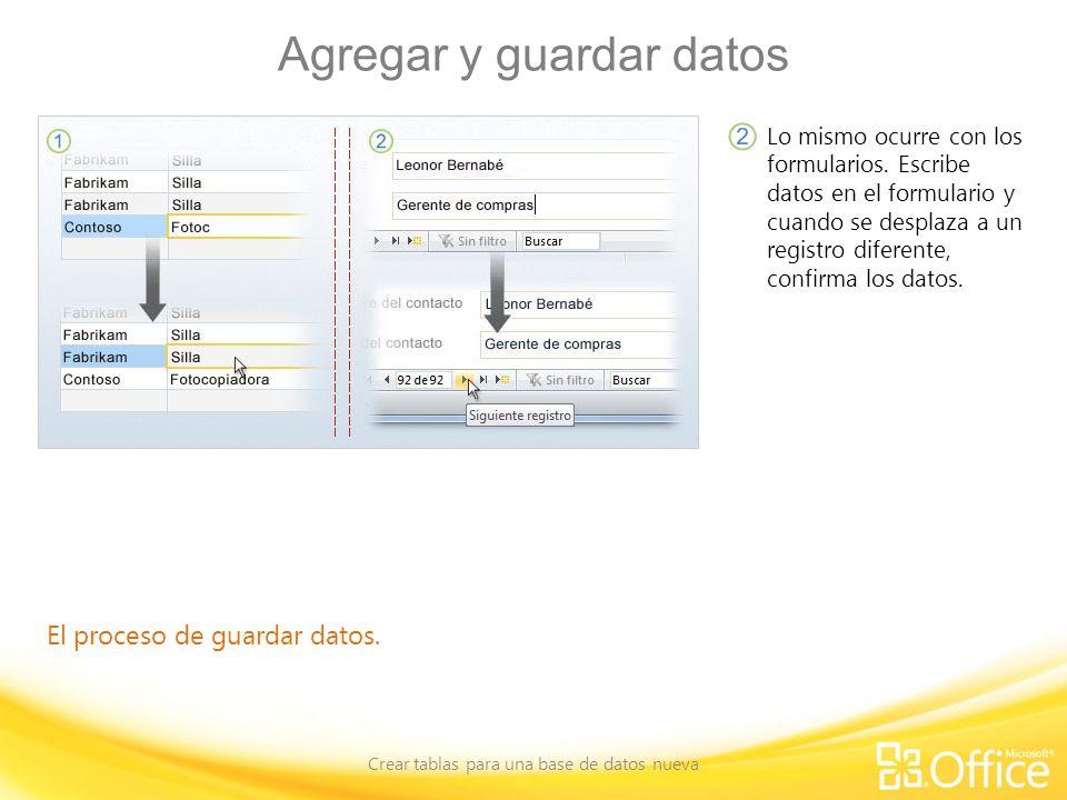 Agregar y guardar datos Crear tablas para una base de datos nueva El proceso de guardar datos. Lo mismo ocurre con los formularios. Escribe datos en e