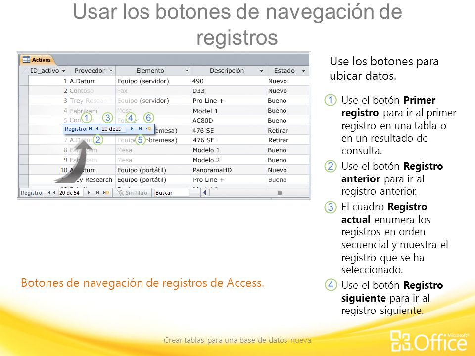 Usar los botones de navegación de registros Crear tablas para una base de datos nueva Botones de navegación de registros de Access. Use los botones pa