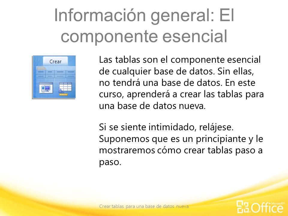 Información general: El componente esencial Crear tablas para una base de datos nueva Las tablas son el componente esencial de cualquier base de datos