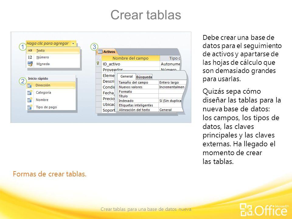 Crear tablas Crear tablas para una base de datos nueva Formas de crear tablas. Debe crear una base de datos para el seguimiento de activos y apartarse