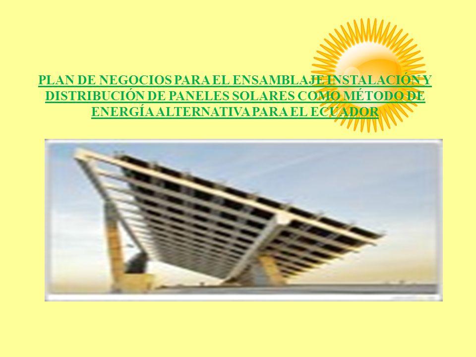 RESUMEN El presente proyecto pretende determinar la factibilidad económica para la comercialización de paneles solares en el Ecuador.