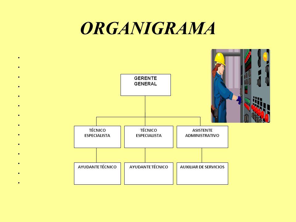 ORGANIGRAMA GERENTE GENERAL ASISTENTE ADMINISTRATIVO AYUDANTE TÉCNICO AUXILIAR DE SERVICIOS TÉCNICO ESPECIALISTA