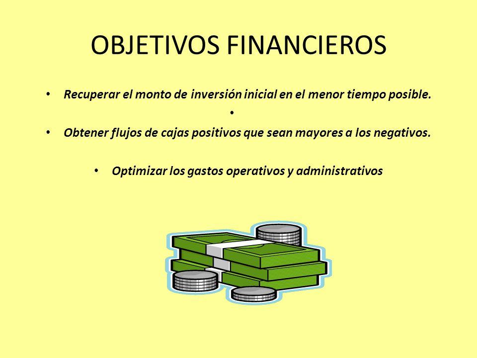 OBJETIVOS FINANCIEROS Recuperar el monto de inversión inicial en el menor tiempo posible. Obtener flujos de cajas positivos que sean mayores a los neg