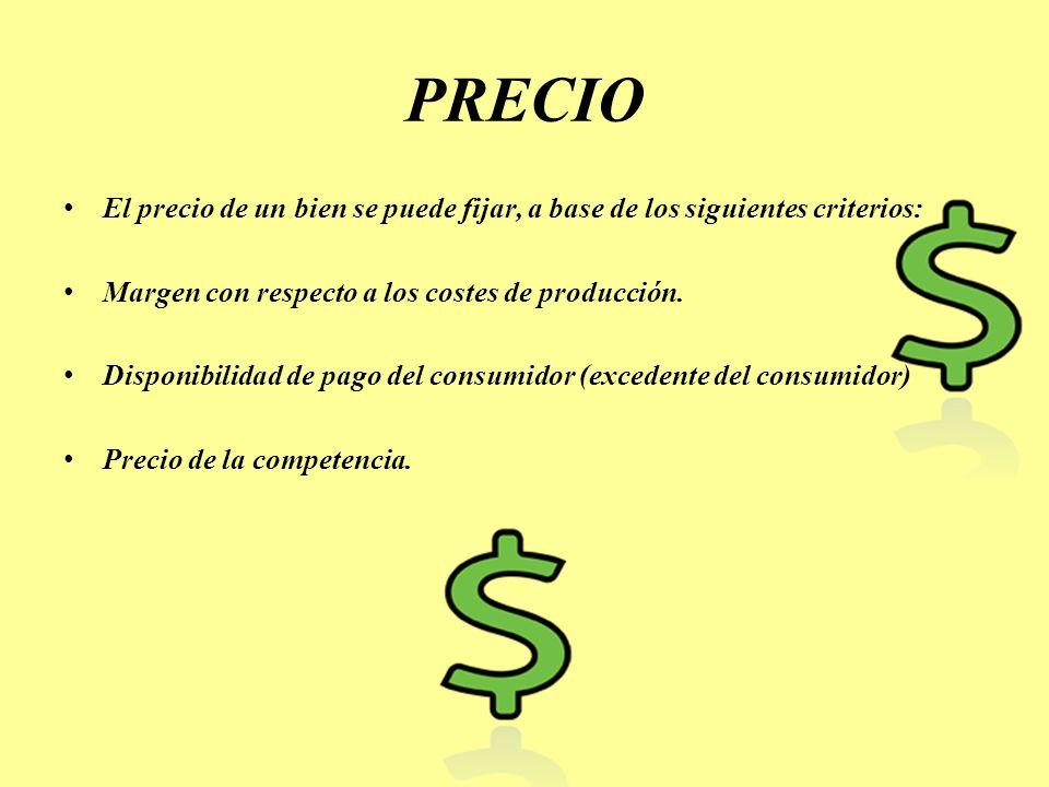 PRECIO El precio de un bien se puede fijar, a base de los siguientes criterios: Margen con respecto a los costes de producción. Disponibilidad de pago