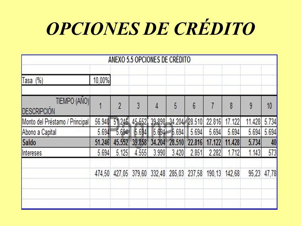 OPCIONES DE CRÉDITO