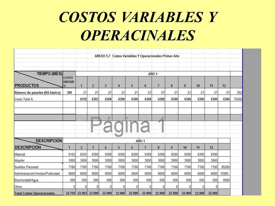 COSTOS VARIABLES Y OPERACINALES