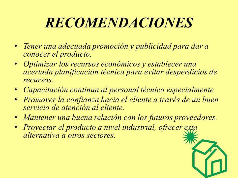 RECOMENDACIONES Tener una adecuada promoción y publicidad para dar a conocer el producto. Optimizar los recursos económicos y establecer una acertada