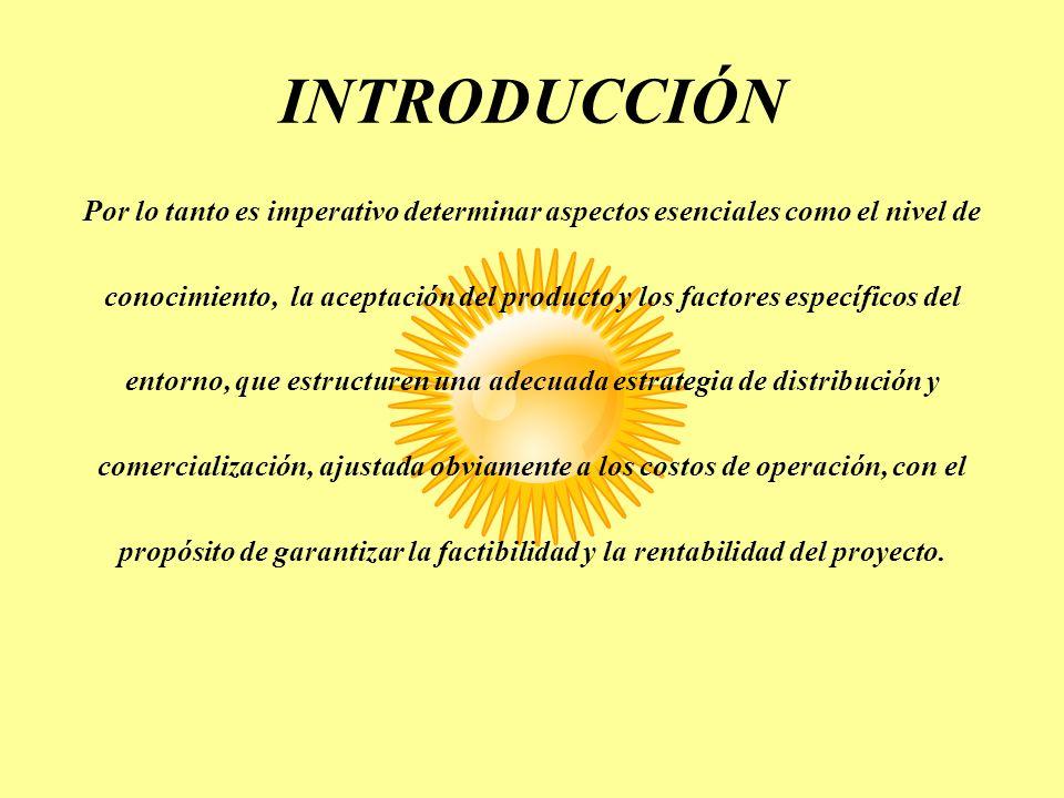 INTRODUCCIÓN Por lo tanto es imperativo determinar aspectos esenciales como el nivel de conocimiento, la aceptación del producto y los factores especí