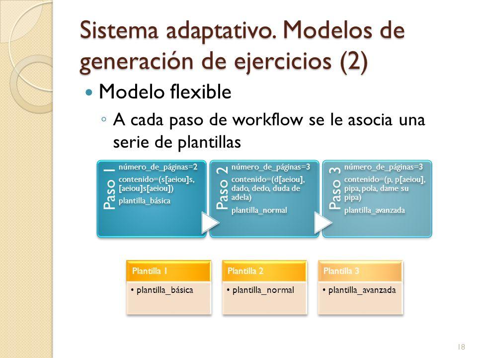 Sistema adaptativo. Modelos de generación de ejercicios (2) Modelo flexible A cada paso de workflow se le asocia una serie de plantillas Paso 1 número