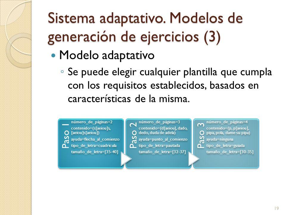 Sistema adaptativo. Modelos de generación de ejercicios (3) Modelo adaptativo Se puede elegir cualquier plantilla que cumpla con los requisitos establ