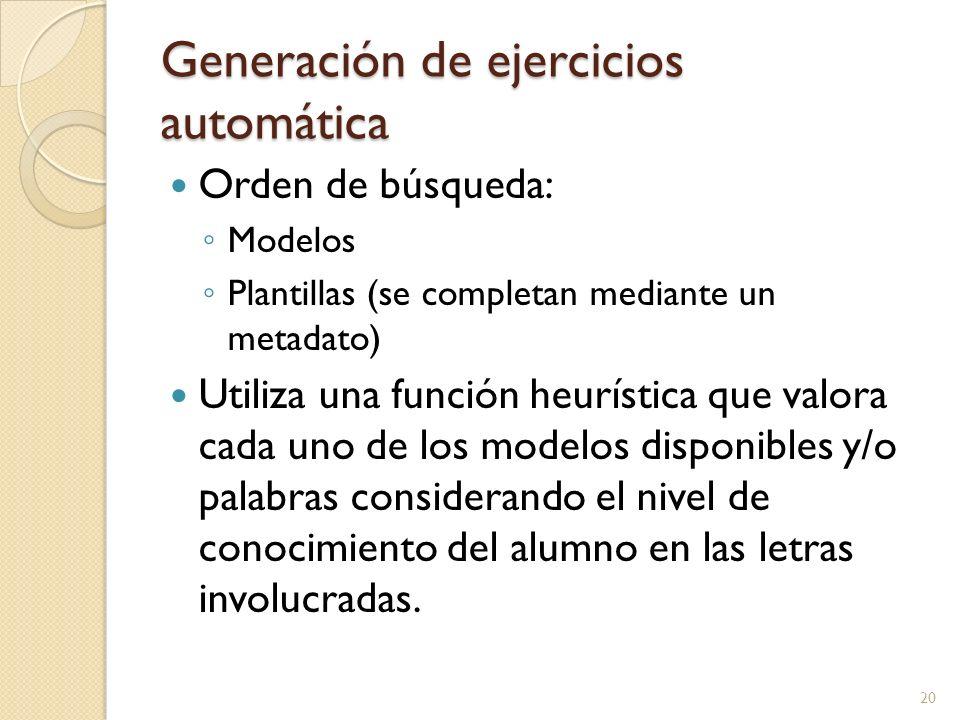 Generación de ejercicios automática Orden de búsqueda: Modelos Plantillas (se completan mediante un metadato) Utiliza una función heurística que valor