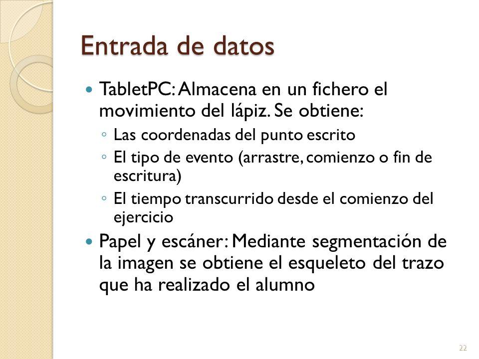Entrada de datos TabletPC: Almacena en un fichero el movimiento del lápiz. Se obtiene: Las coordenadas del punto escrito El tipo de evento (arrastre,