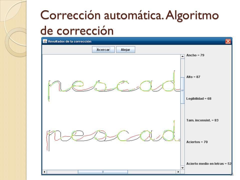 Corrección automática. Algoritmo de corrección Se comprueba qué porcentaje de lo escrito por el alumno se superpone a la solución (se permite cierto m