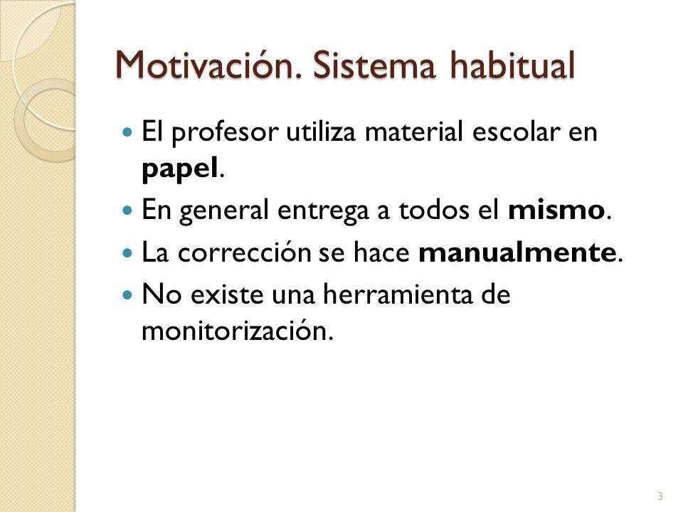 Motivación. Sistema habitual El profesor utiliza material escolar en papel. En general entrega a todos el mismo. La corrección se hace manualmente. No