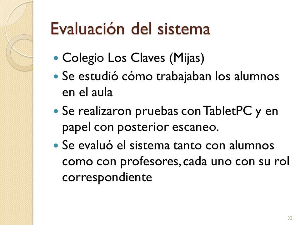 Evaluación del sistema Colegio Los Claves (Mijas) Se estudió cómo trabajaban los alumnos en el aula Se realizaron pruebas con TabletPC y en papel con