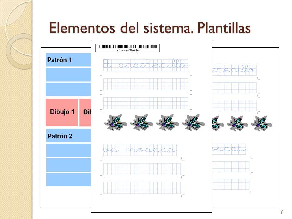 Elementos del sistema. Plantillas 8 Permite estructurar los ejercicios de escritura Se utilizan como base para la generación automática de ejercicios