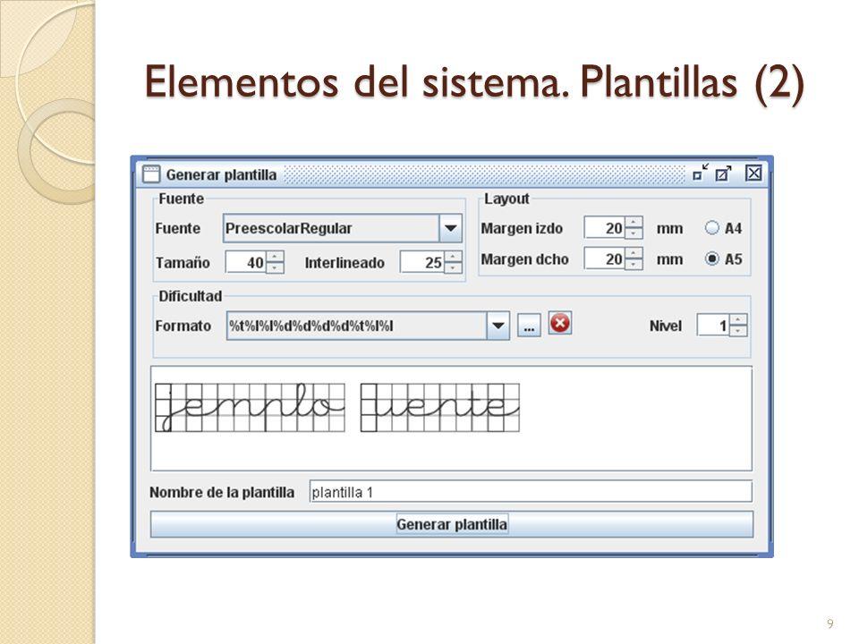 Generación de ejercicios automática Orden de búsqueda: Modelos Plantillas (se completan mediante un metadato) Utiliza una función heurística que valora cada uno de los modelos disponibles y/o palabras considerando el nivel de conocimiento del alumno en las letras involucradas.