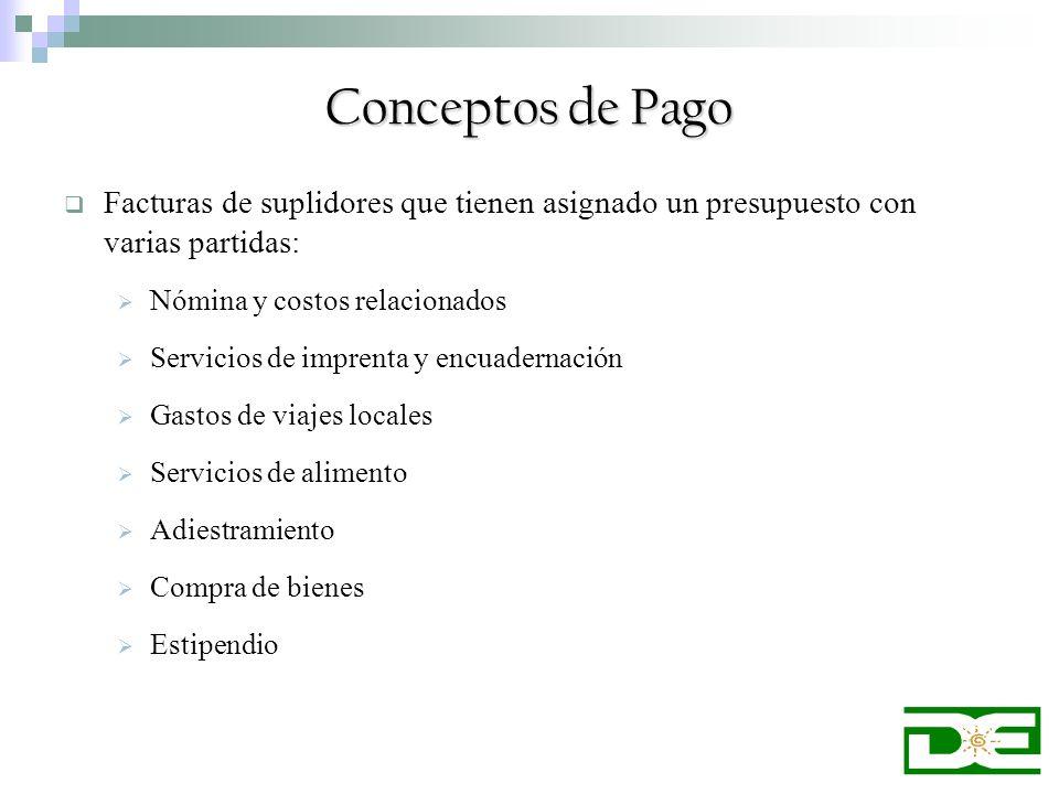 Conceptos de Pago Facturas de suplidores que tienen asignado un presupuesto con varias partidas: Nómina y costos relacionados Servicios de imprenta y
