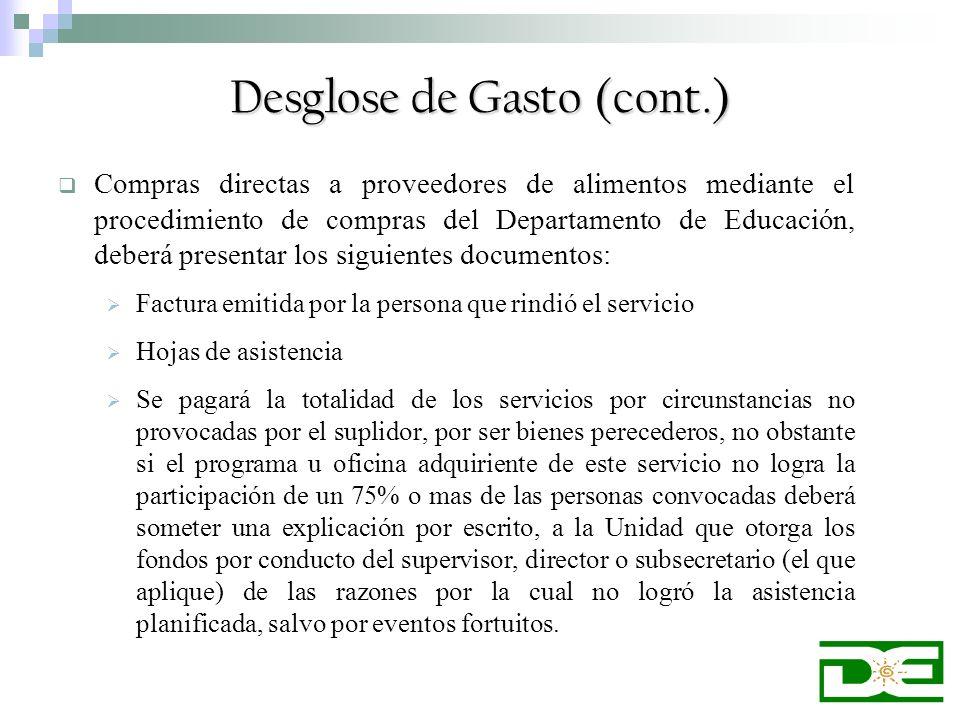 Compras directas a proveedores de alimentos mediante el procedimiento de compras del Departamento de Educación, deberá presentar los siguientes docume