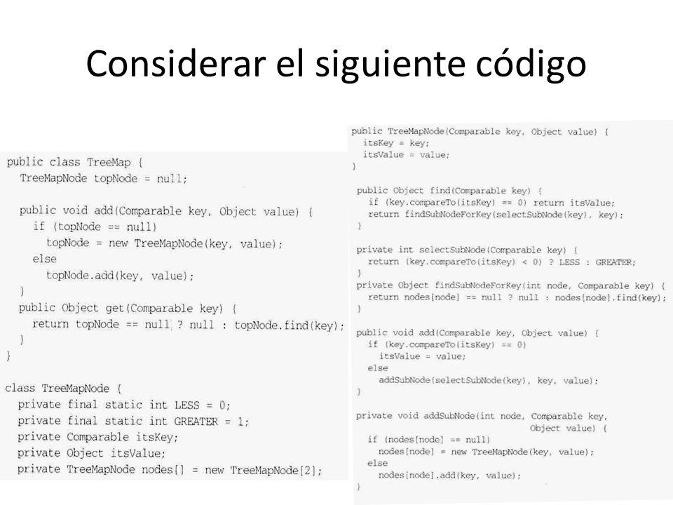 Considerar el siguiente código