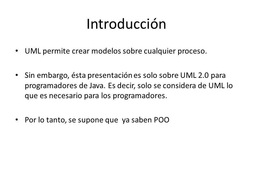 Introducción UML permite crear modelos sobre cualquier proceso. Sin embargo, ésta presentación es solo sobre UML 2.0 para programadores de Java. Es de