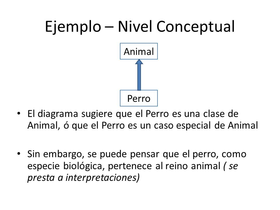 Ejemplo – Nivel Conceptual El diagrama sugiere que el Perro es una clase de Animal, ó que el Perro es un caso especial de Animal Sin embargo, se puede pensar que el perro, como especie biológica, pertenece al reino animal ( se presta a interpretaciones) Animal Perro