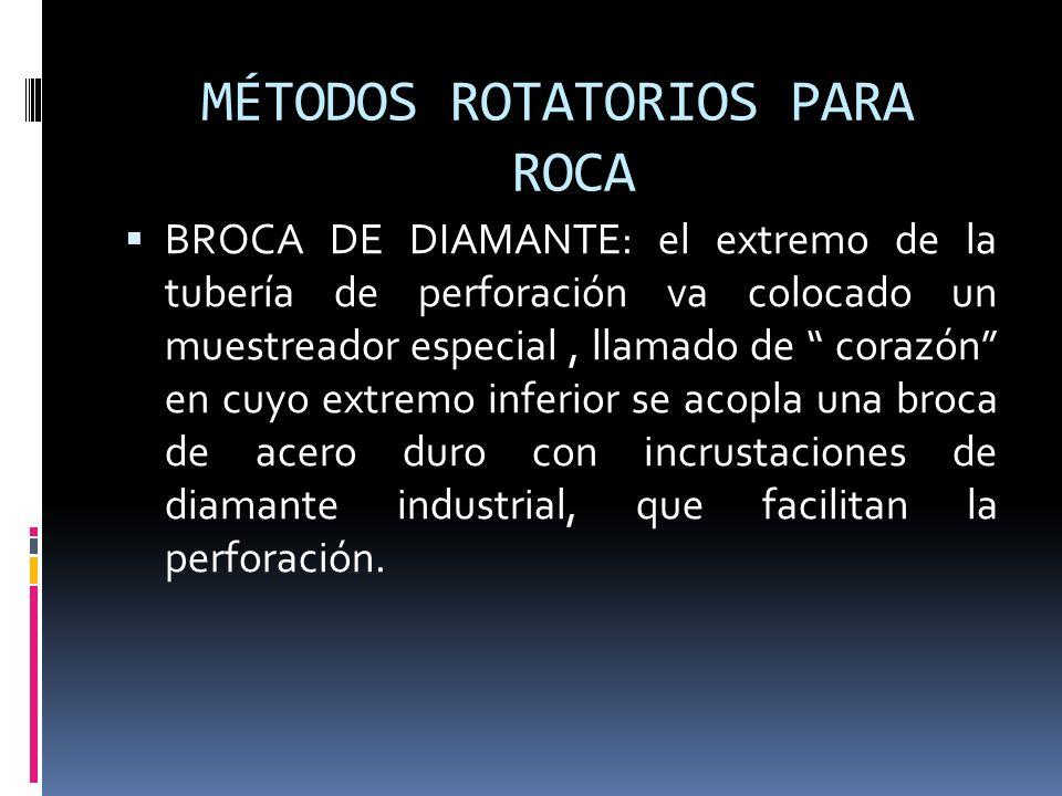 MÉTODOS ROTATORIOS PARA ROCA BROCA DE DIAMANTE: el extremo de la tubería de perforación va colocado un muestreador especial, llamado de corazón en cuy