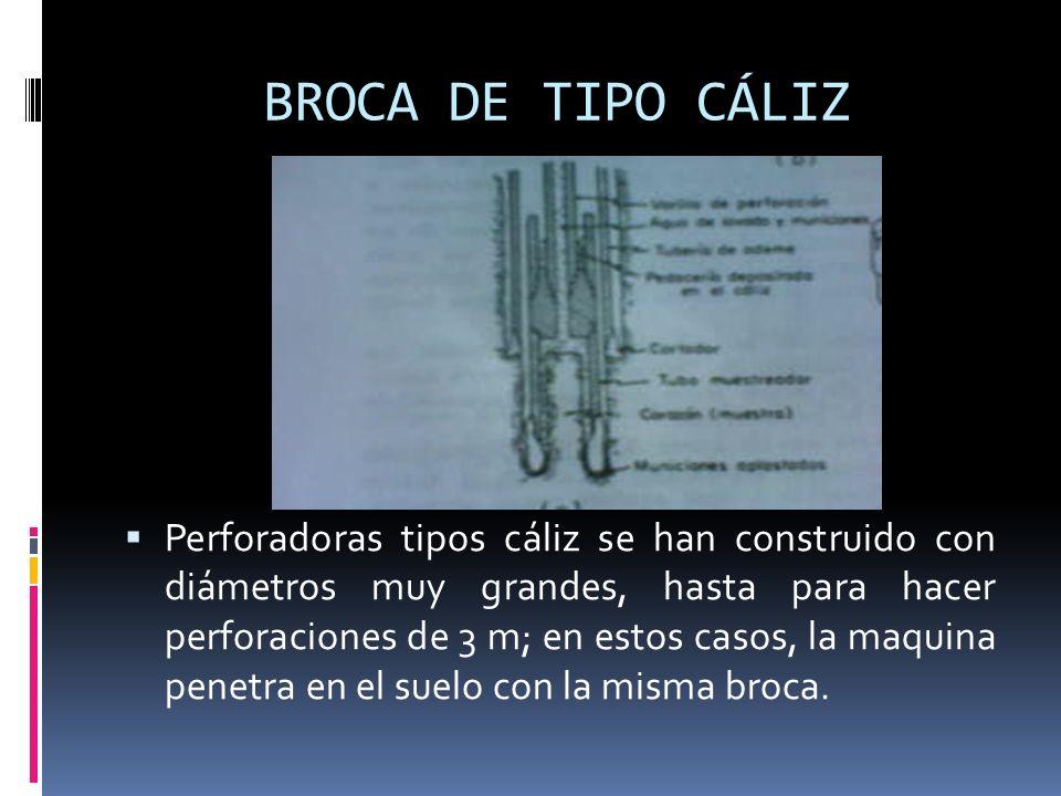 BROCA DE TIPO CÁLIZ Perforadoras tipos cáliz se han construido con diámetros muy grandes, hasta para hacer perforaciones de 3 m; en estos casos, la ma