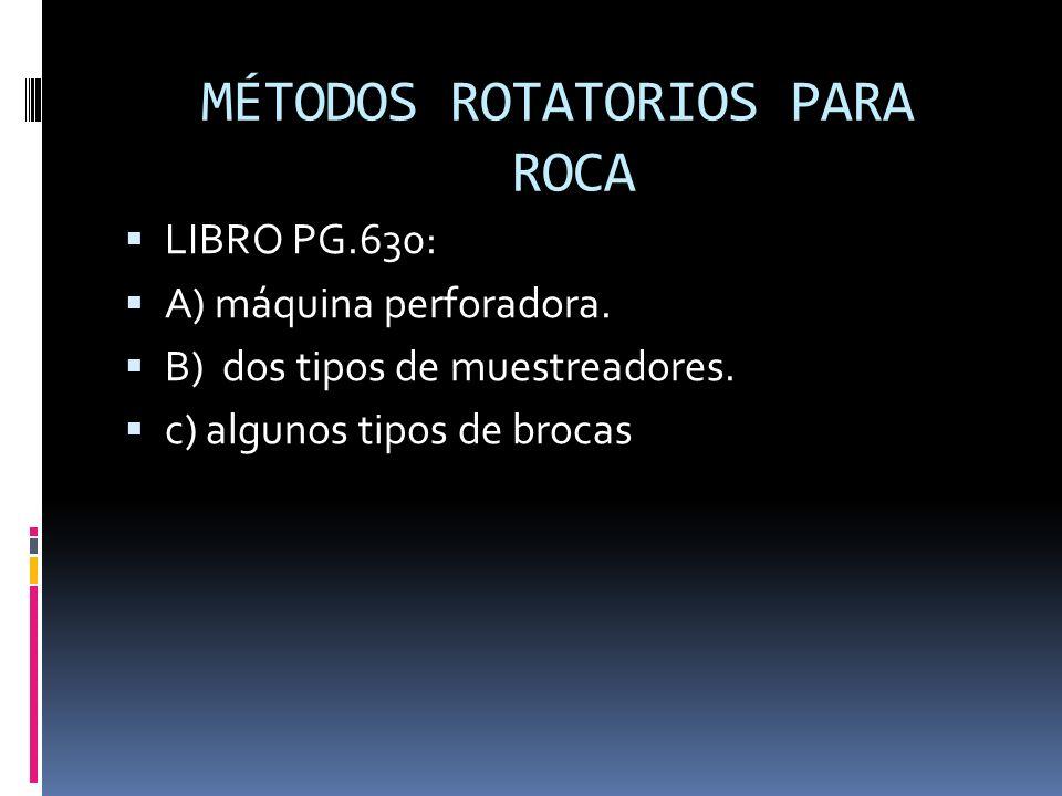 MÉTODOS ROTATORIOS PARA ROCA LIBRO PG.630: A) máquina perforadora. B) dos tipos de muestreadores. c) algunos tipos de brocas