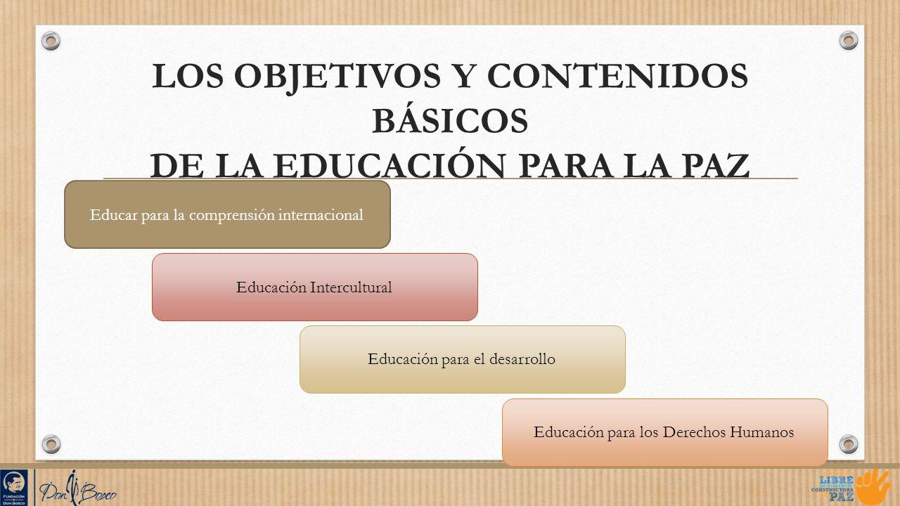 LOS OBJETIVOS Y CONTENIDOS BÁSICOS DE LA EDUCACIÓN PARA LA PAZ Educar para la comprensión internacional Educación Intercultural Educación para el desa