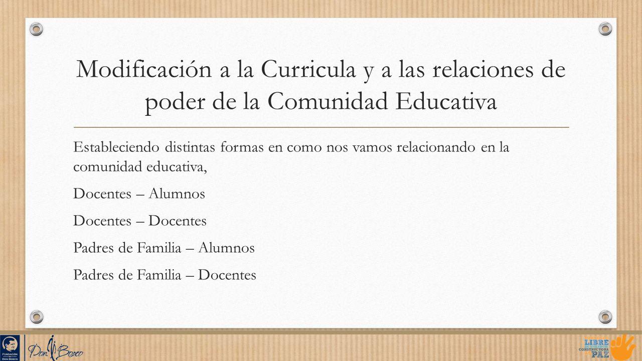 Modificación a la Curricula y a las relaciones de poder de la Comunidad Educativa Estableciendo distintas formas en como nos vamos relacionando en la