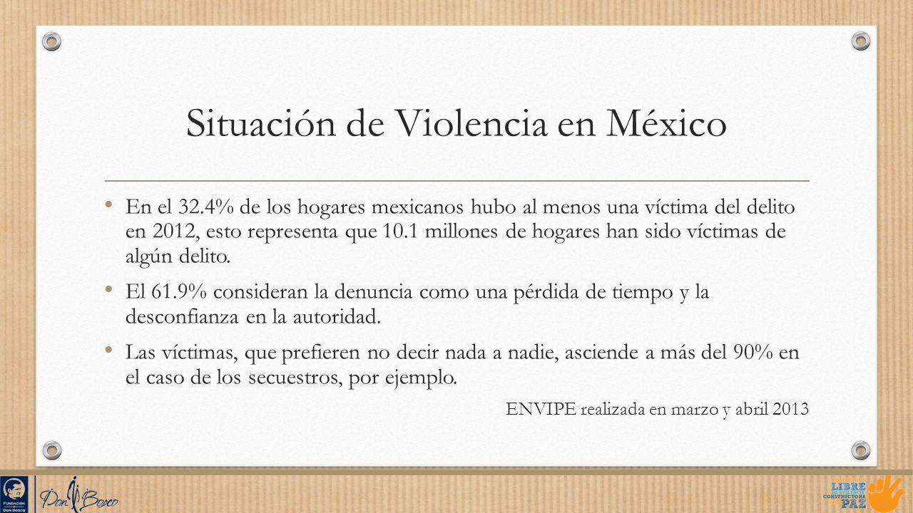 Situación de Violencia en México En el 32.4% de los hogares mexicanos hubo al menos una víctima del delito en 2012, esto representa que 10.1 millones