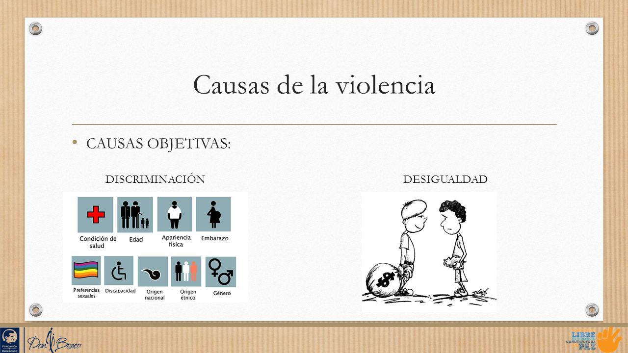 Causas de la violencia CAUSAS OBJETIVAS: DESIGUALDADDISCRIMINACIÓN
