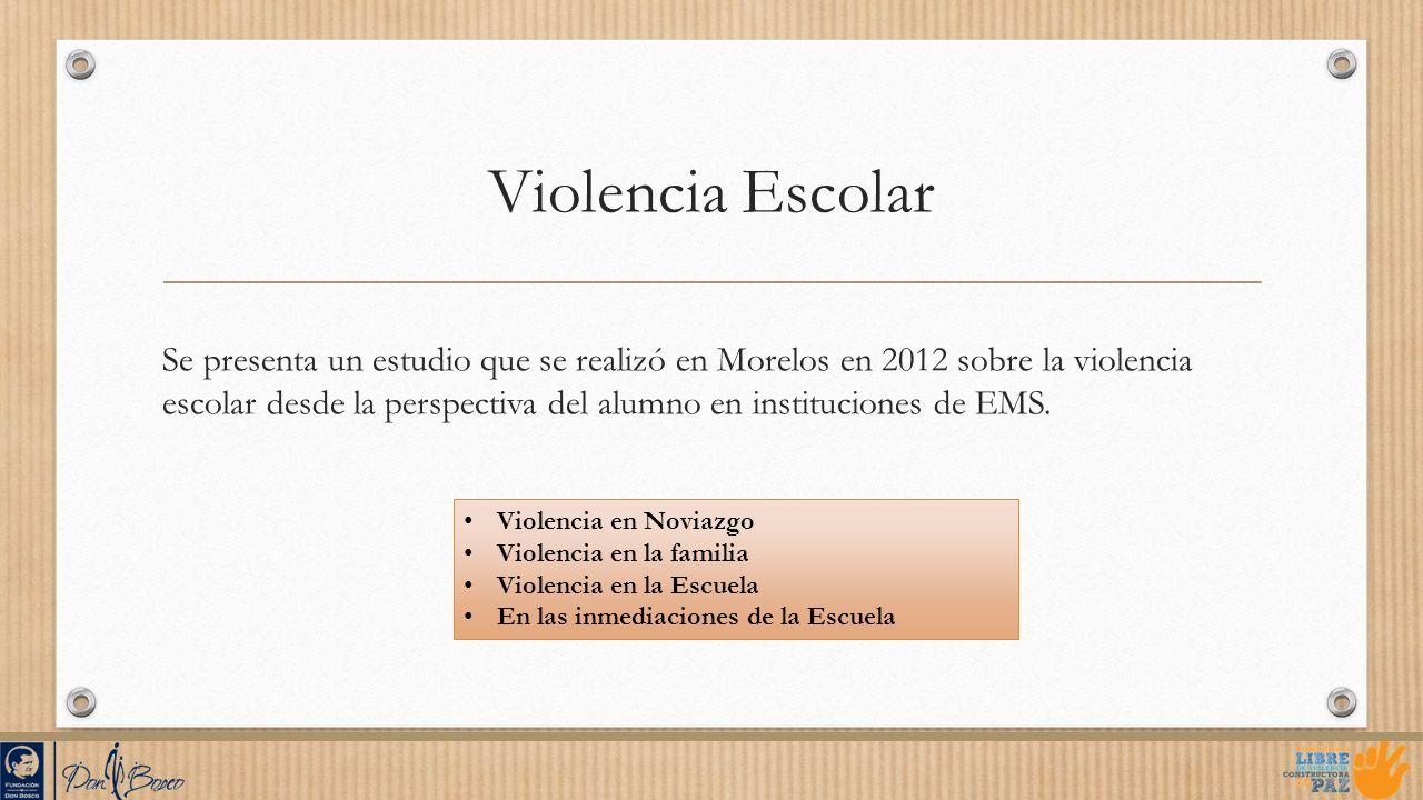 Violencia Escolar Se presenta un estudio que se realizó en Morelos en 2012 sobre la violencia escolar desde la perspectiva del alumno en instituciones