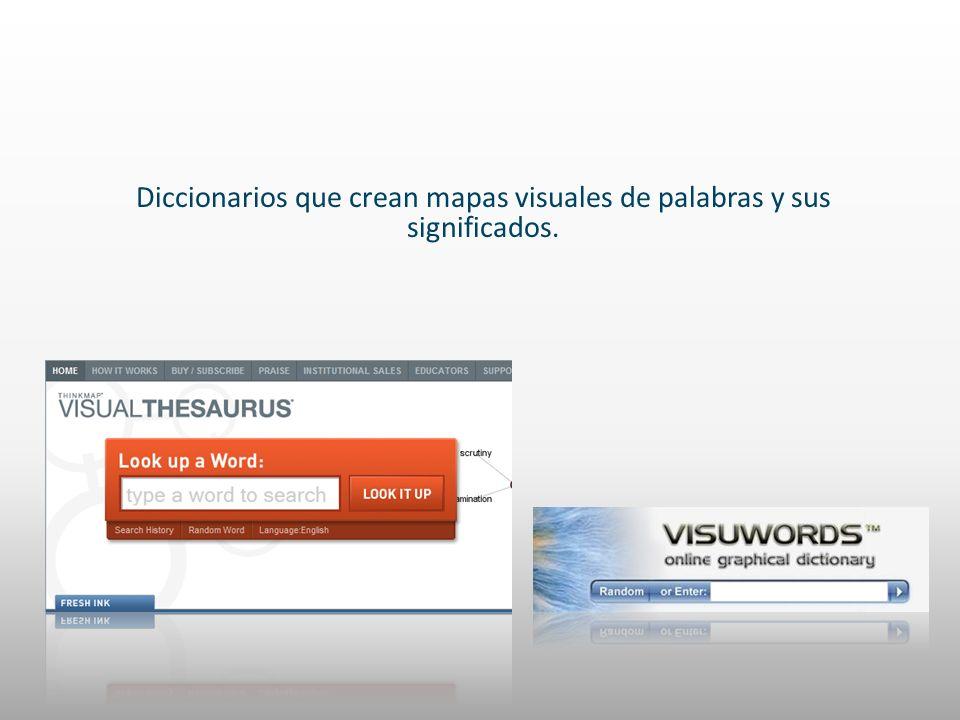 Diccionarios que crean mapas visuales de palabras y sus significados.