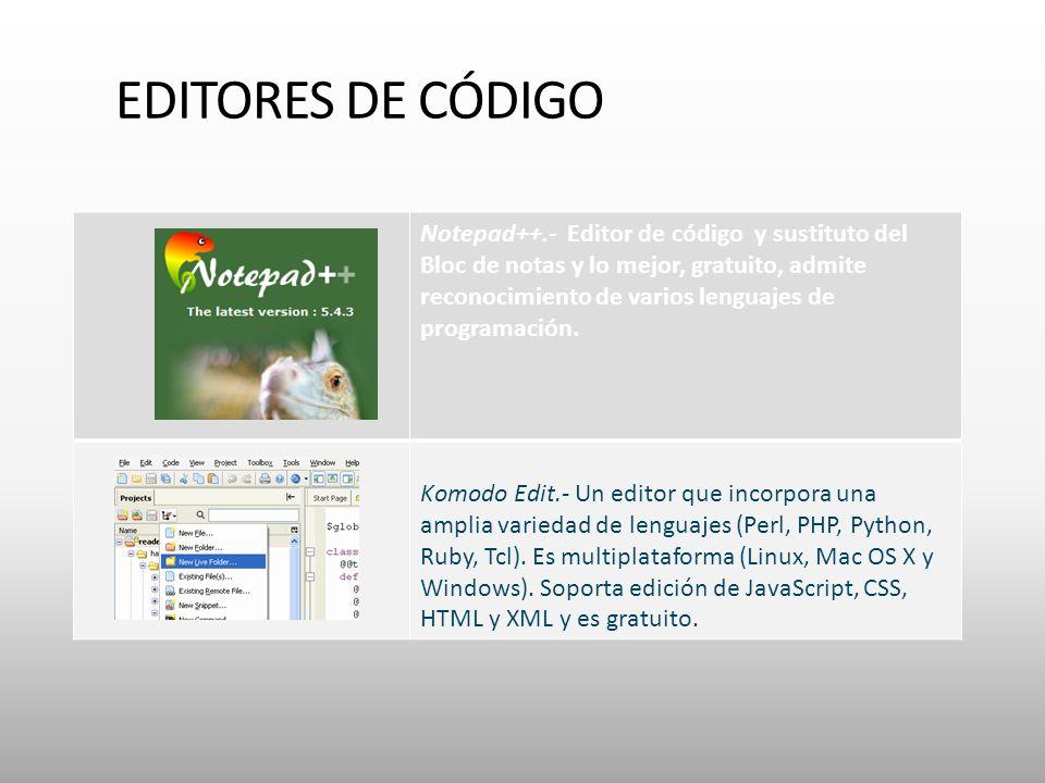 EDITORES DE CÓDIGO Notepad++.- Editor de código y sustituto del Bloc de notas y lo mejor, gratuito, admite reconocimiento de varios lenguajes de programación.
