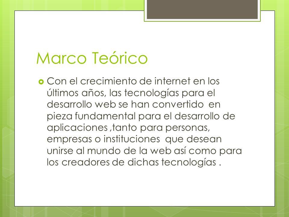 Marco Teórico Con el crecimiento de internet en los últimos años, las tecnologías para el desarrollo web se han convertido en pieza fundamental para e