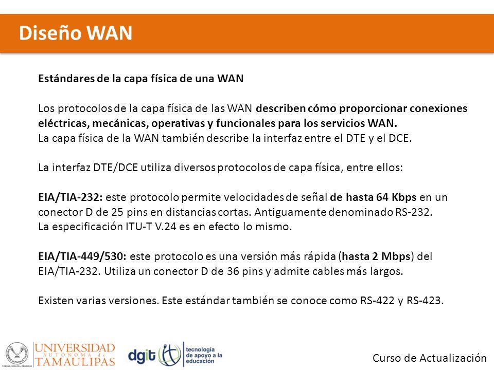 Curso de Actualización Estándares de la capa física de una WAN Los protocolos de la capa física de las WAN describen cómo proporcionar conexiones eléc