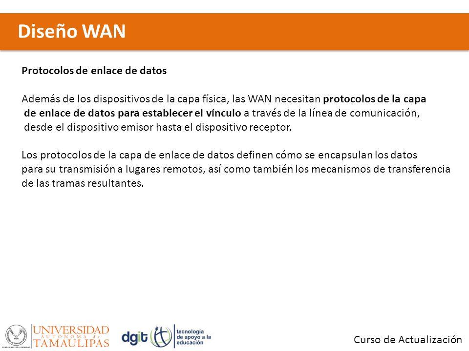 Diseño WAN Curso de Actualización Protocolos de enlace de datos Además de los dispositivos de la capa física, las WAN necesitan protocolos de la capa