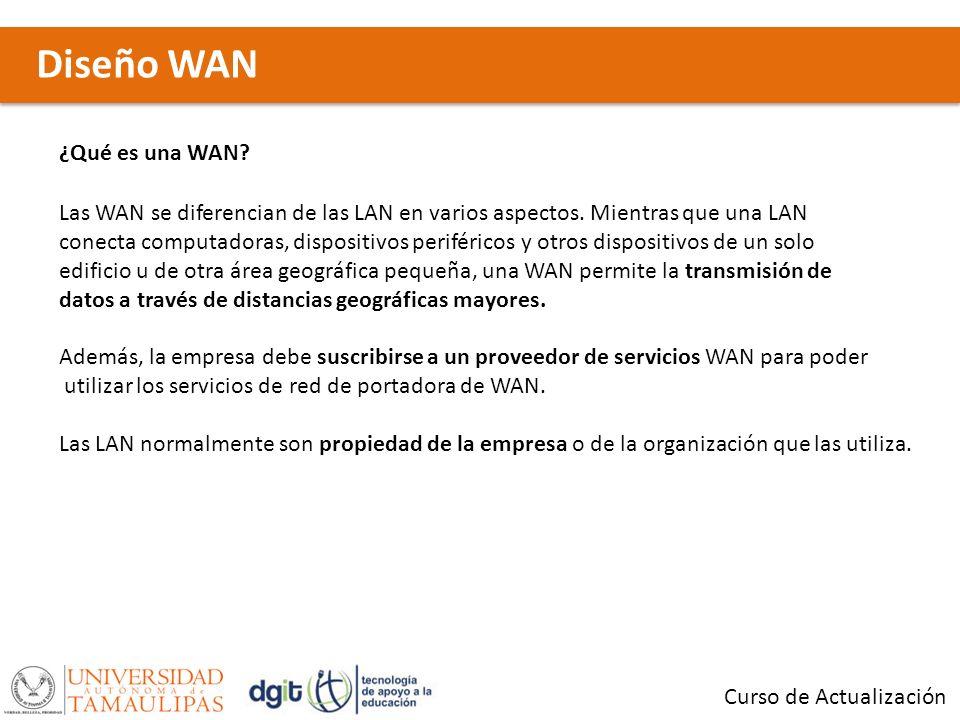 Diseño WAN Curso de Actualización Las tres características principales de las WAN son las siguientes: Las WAN generalmente conectan dispositivos que están separados por un área geográfica más extensa que la que puede cubrir una LAN.