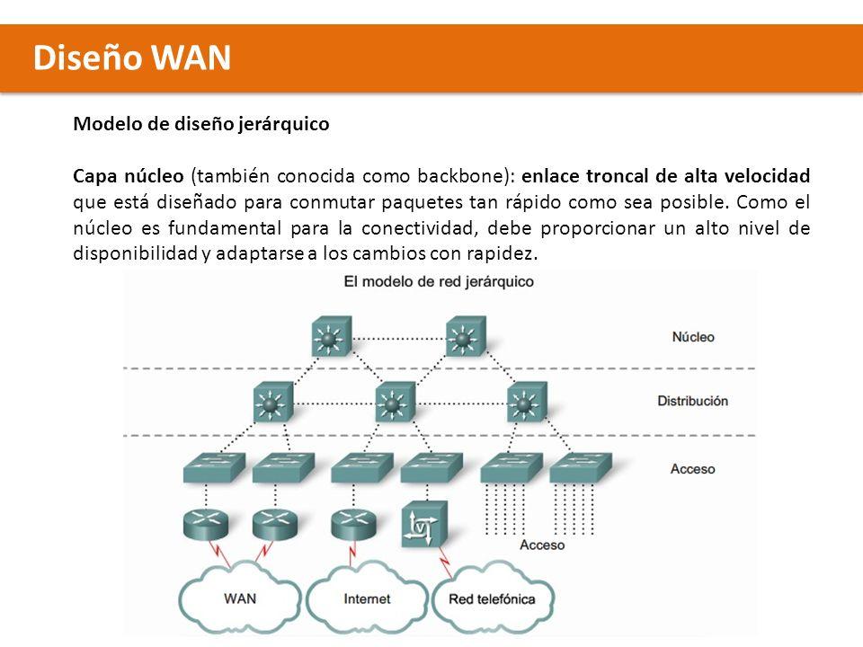 Diseño WAN Modelo de diseño jerárquico Capa núcleo (también conocida como backbone): enlace troncal de alta velocidad que está diseñado para conmutar