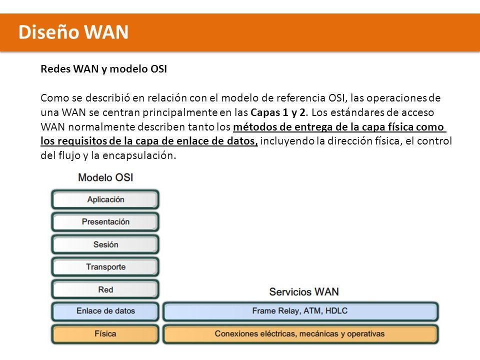 Diseño WAN Redes WAN y modelo OSI Como se describió en relación con el modelo de referencia OSI, las operaciones de una WAN se centran principalmente