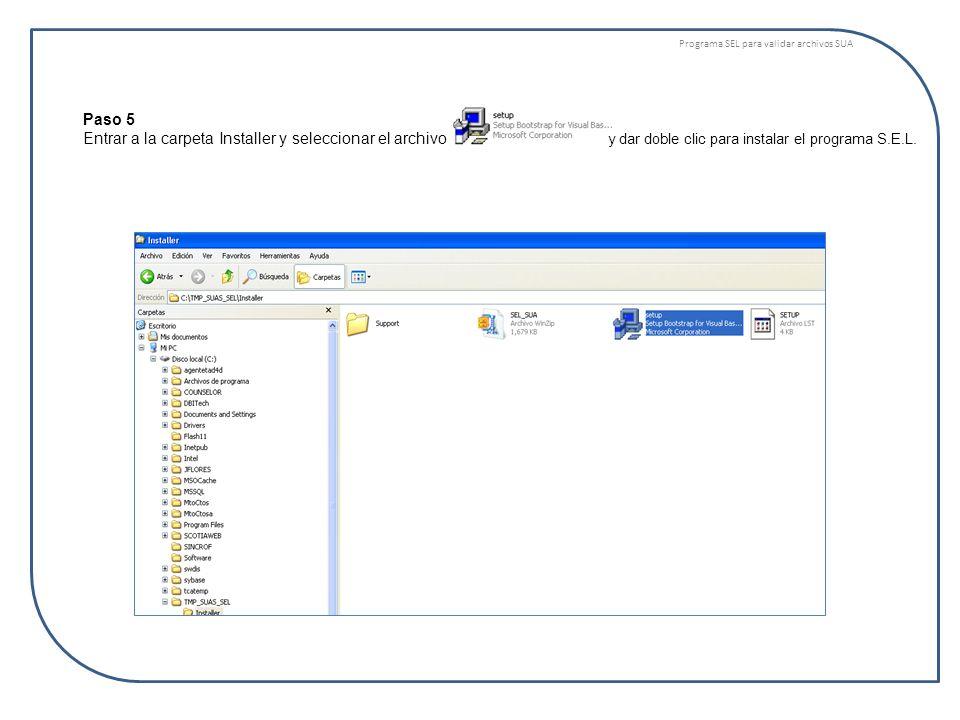 Programa SEL para validar archivos SUA Paso 6 En caso de requerir que el Sistema se reinicie para instalación de algunos componentes ud observara la Fig.