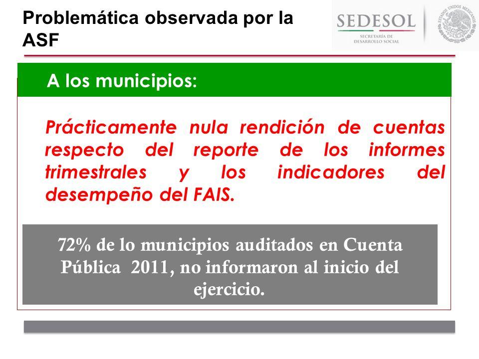 Prácticamente nula rendición de cuentas respecto del reporte de los informes trimestrales y los indicadores del desempeño del FAIS. A los municipios: