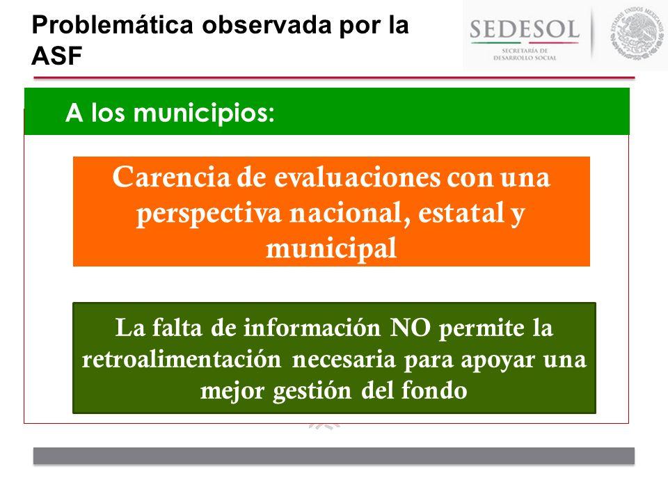 A los municipios: Problemática observada por la ASF La falta de información NO permite la retroalimentación necesaria para apoyar una mejor gestión de