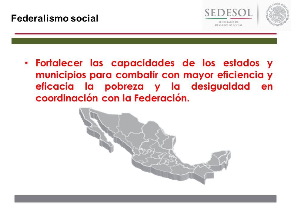 Federalismo social Es responsabilidad de los tres órdenes de gobierno el establecer una nueva Política Nacional de Desarrollo Social que procure una coordinación integral entre los tres órdenes de gobierno en las actividades de planeación y ejecución del gasto social, en beneficio de los mexicanos.