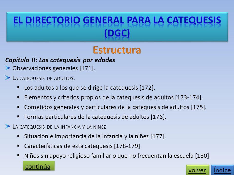 Capítulo II: Las catequesis por edades Observaciones generales [171].