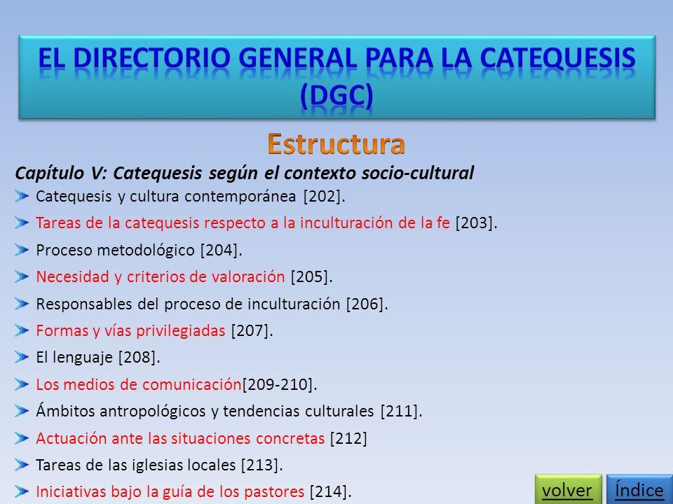 Capítulo V: Catequesis según el contexto socio-cultural Catequesis y cultura contemporánea [202].