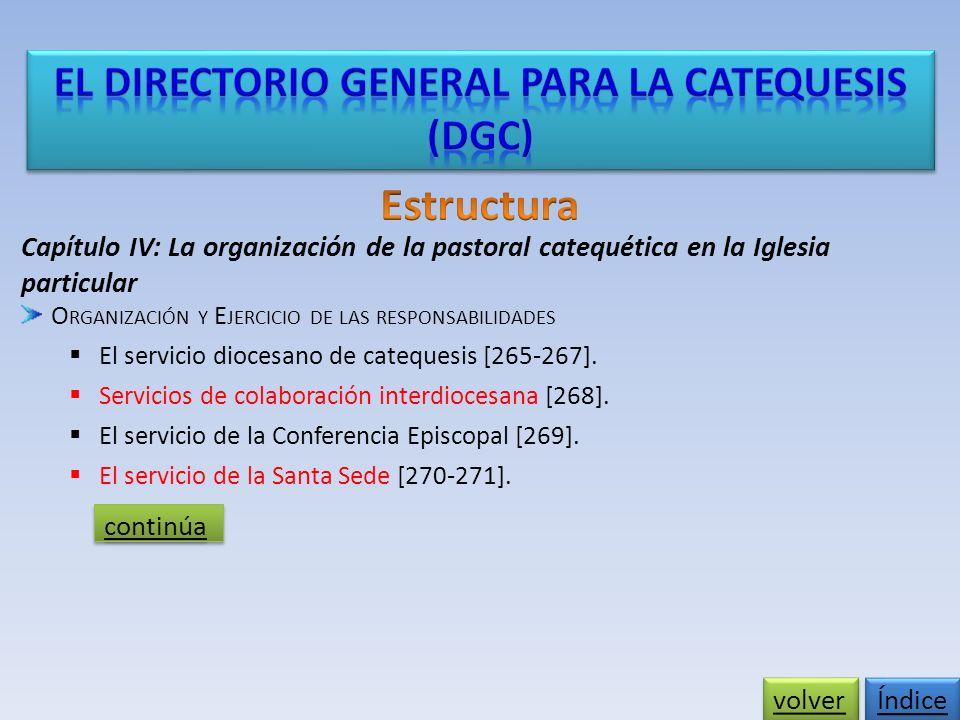 Capítulo IV: La organización de la pastoral catequética en la Iglesia particular O RGANIZACIÓN Y E JERCICIO DE LAS RESPONSABILIDADES El servicio diocesano de catequesis [265-267].